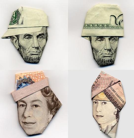 billet de la reine d'angleterre origamie