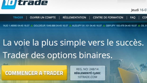 page acceuil 10trade