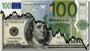 cours euro dollar illustratio billet